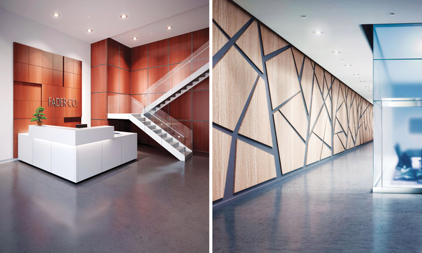 Two photos of different wall panels with woodgrain finish.