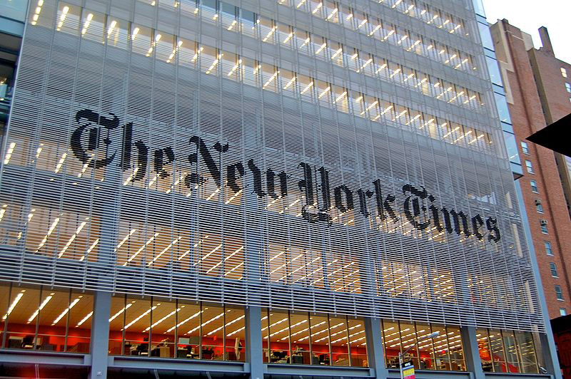 Exterior of the New York Times Building.