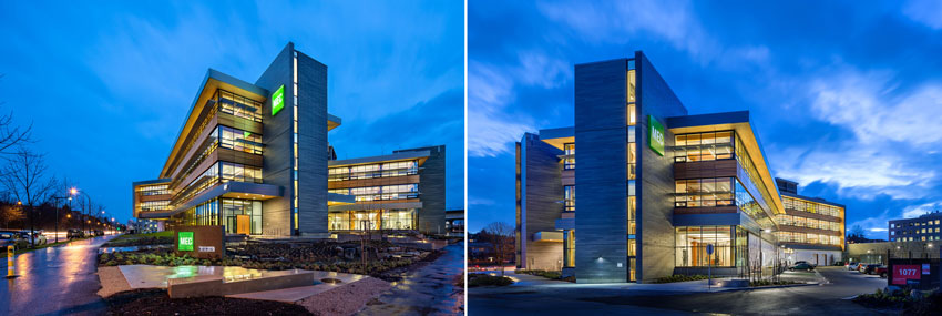 Two exterior photos of MEC Headquarters.