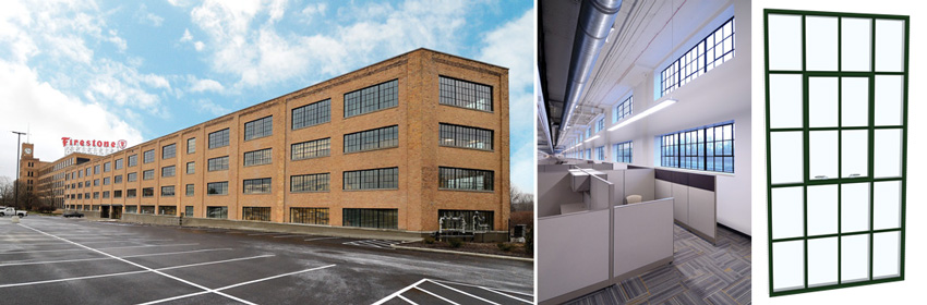 Two photos of the Firestone Triangle Building and a photo of a typical window.