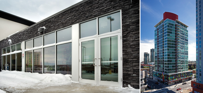 Aluminum storefront systems (left) and curtain wall systems (right).