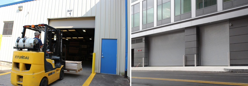 Photos of rolling steel doors.