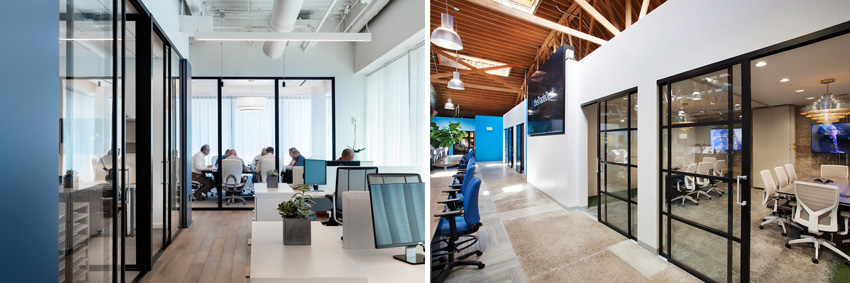 Photos of office interiors with glass partitions.