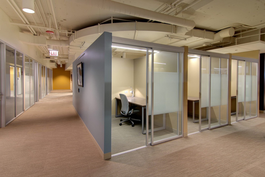 Photos of interior glass enclosures help Serendipity Labs.