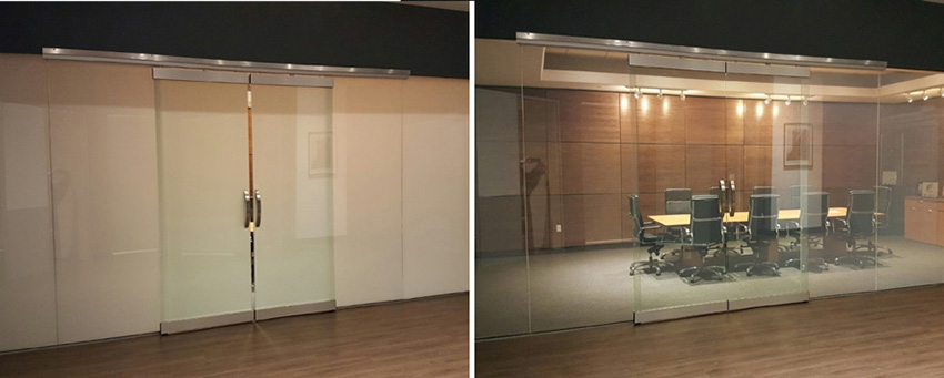 Two photos of the conference room's glass, one opaque and one clear.