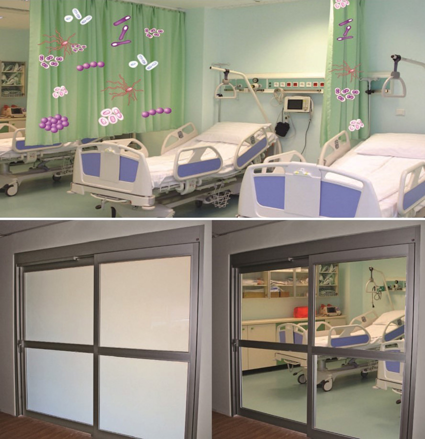 Top: Hospital room interior. Bottom left: Opaque glass on room doors. Bottom right: Transparent glass on room doors.