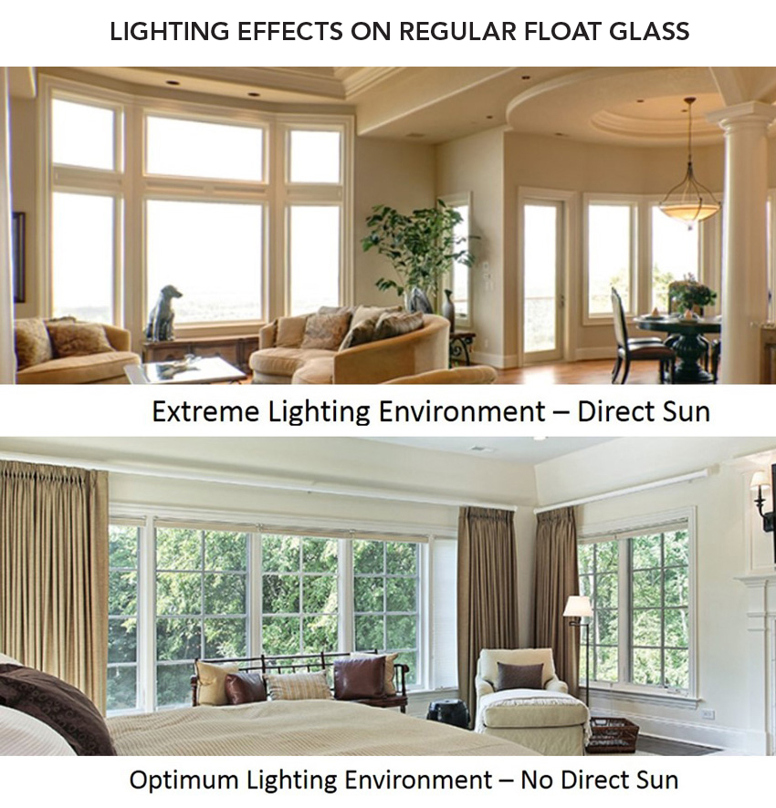 Top: Image of a living room under extreme lighting environment with direct sun.  Bottom: Image of a living room under optimum lighting environment with no direct sun.