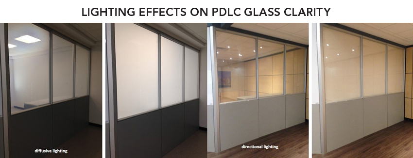 Using fluorescent lighting (two photos on left) or LED lighting (two photos on right) will affect the clarity and appearance of the PDLC glass.