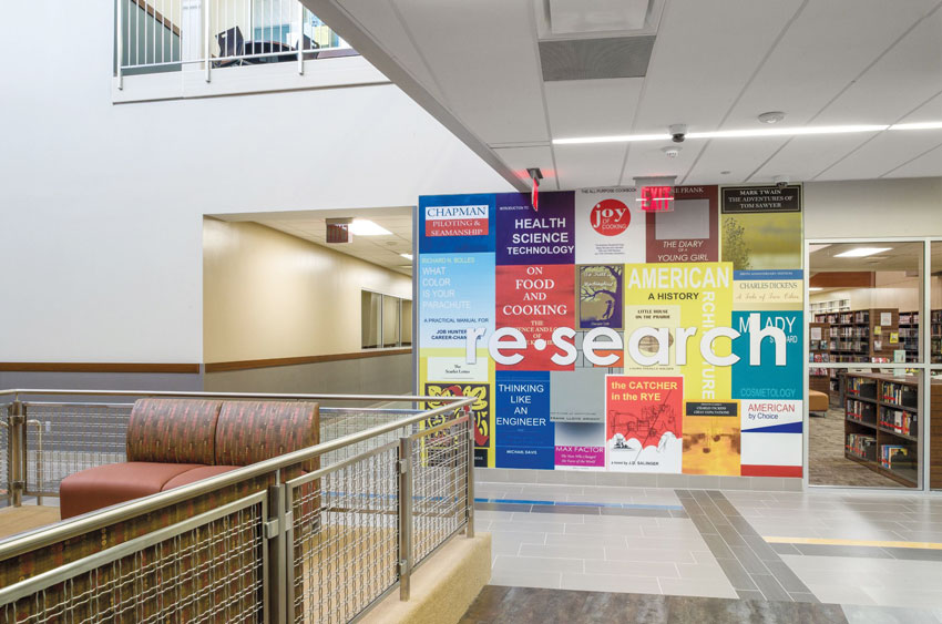 The high school in this photo shows an appropriate use of colorful graphics to stimulate learning.