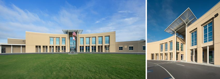 Two exterior photos of Venice High School.