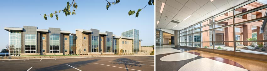 Exterior and interior photos of a school featuring abundant natural daylight.
