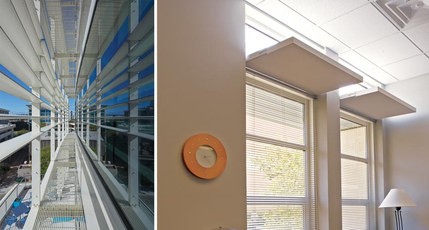 Left: Photo of an exterior sunshade system. Right: Photo of interior lightshelves.