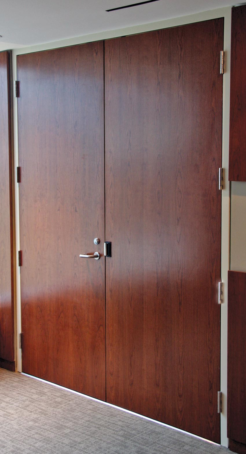 Photo of an acoustic wood door.