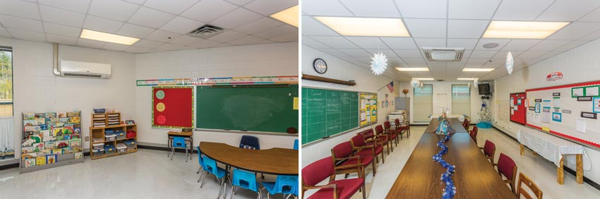 Two photos of school interiors.
