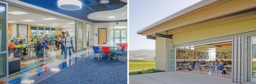 Photos of classrooms with operable glass walls.