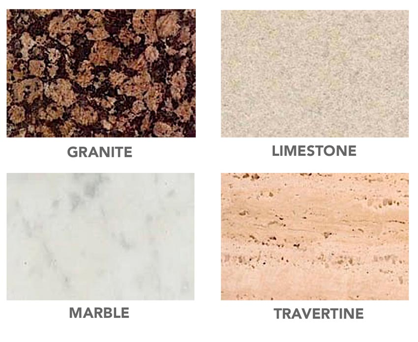 Sample of different stone types.
