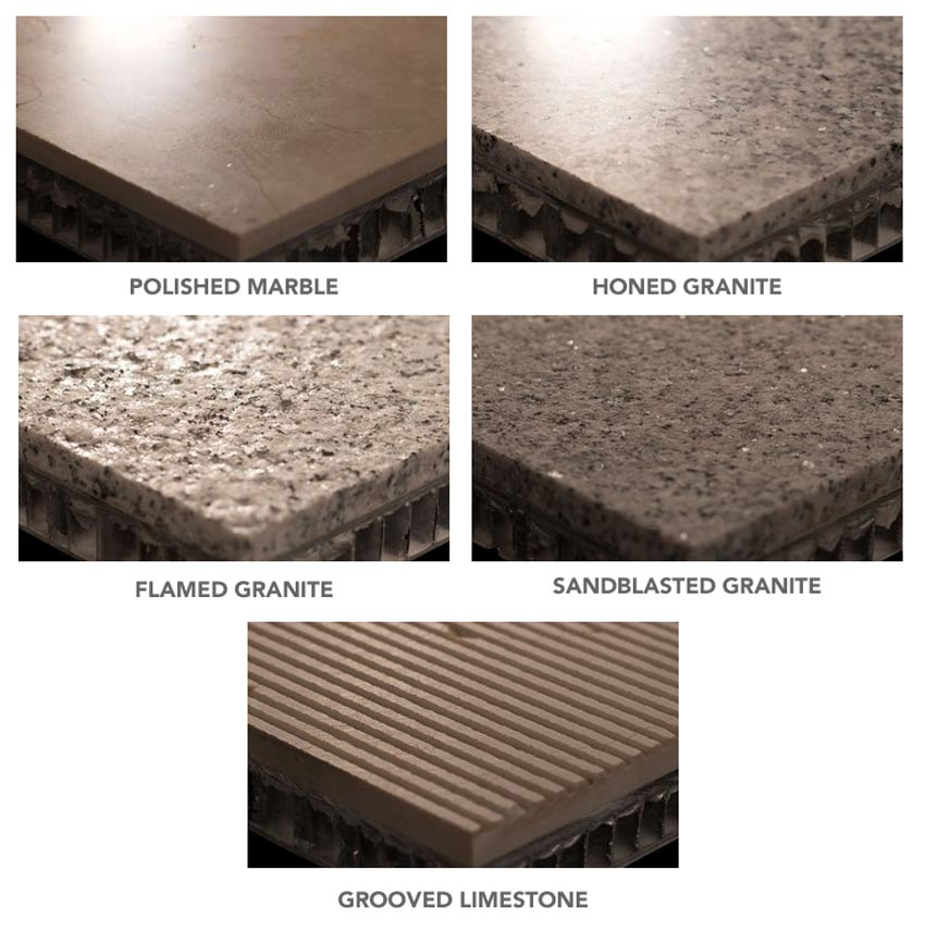 Examples of different stone finishes.
