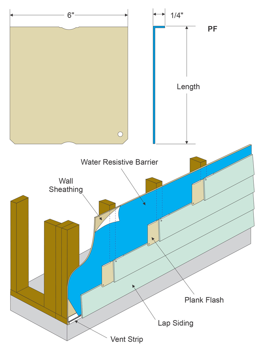 Diagram showing aluminum butt joint flashing.