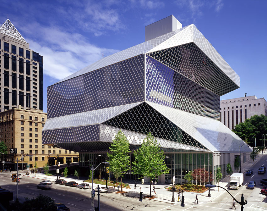 Pictured is the Seattle Central Library.