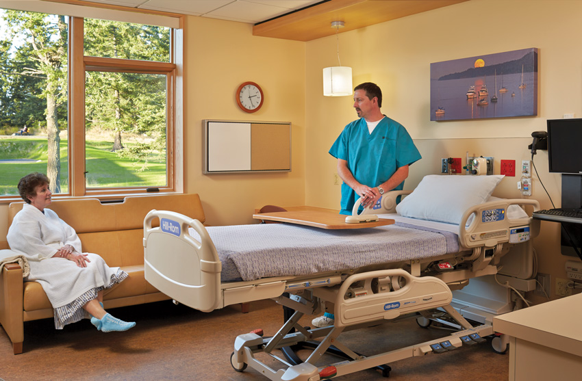 Photo of a patient room at the Peace Island Medical Center.