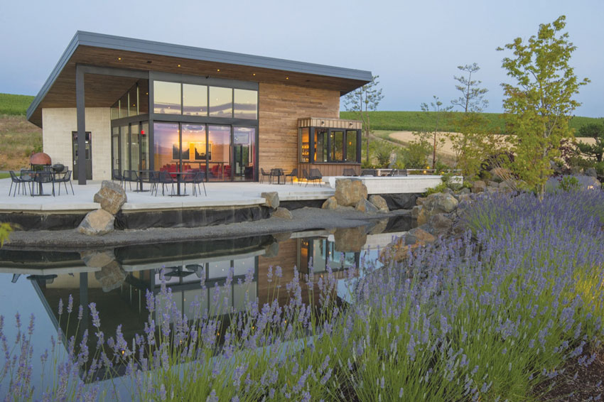 This example at Saffron Fields Vineyard shows a window system that allows both light and the outdoors into an interior space as well as provides architectural aesthetic.