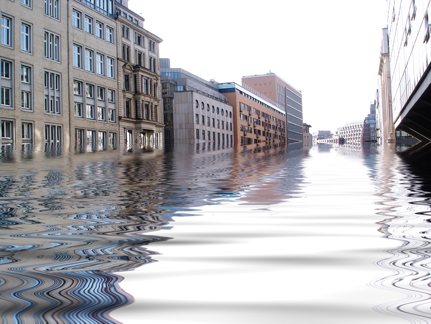Photo of a flooded street.