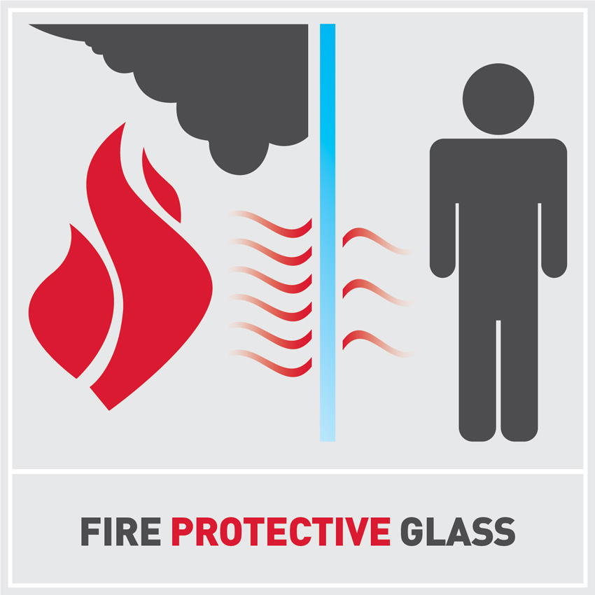 Graphic design of fire protective glass.