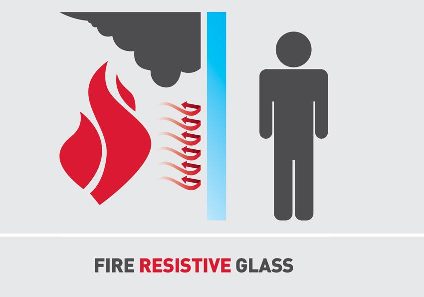 Graphic design of fire resistive glass.
