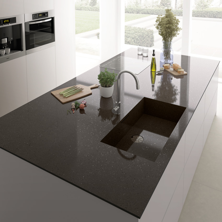 Photo of sleek ceramic countertops.