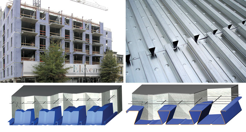 Dovetail composite deck profiles (top right and bottom right) are well suited to residential buildings with clear open spans between dividing walls. Deep deck composite profiles (bottom left) allow even longer clear spans for buildings of all types.