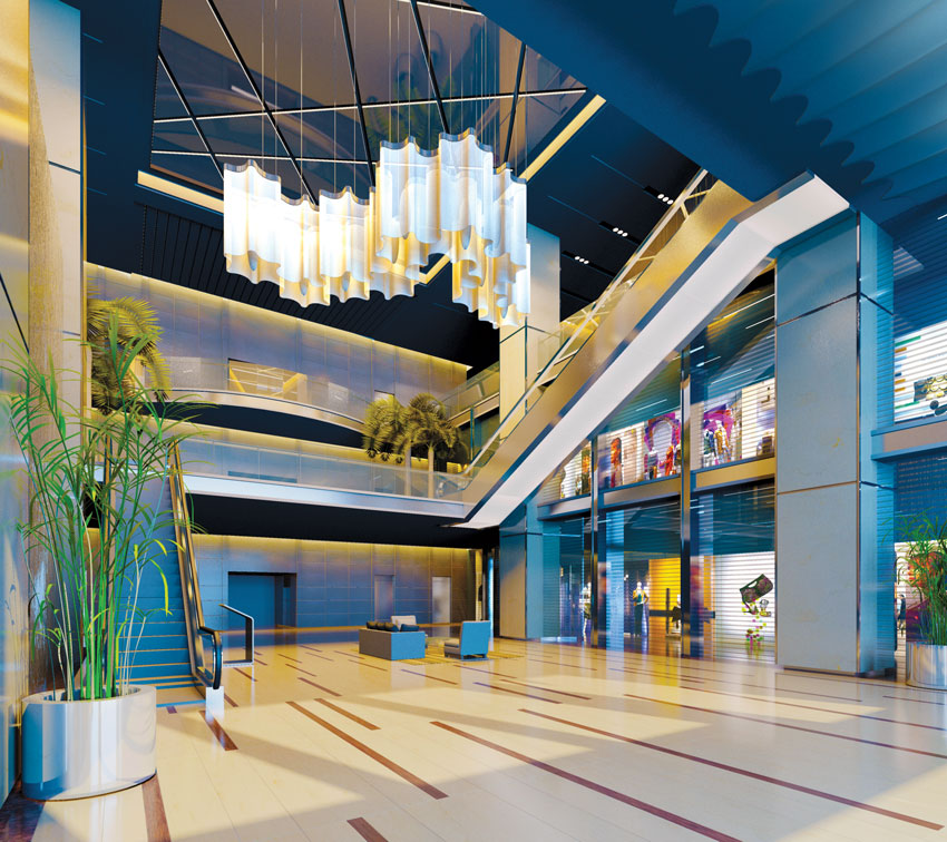 Interior photo of a lobby.
