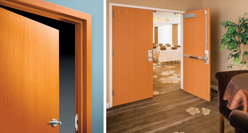 Two photos of the doors at Hotel Nikko.