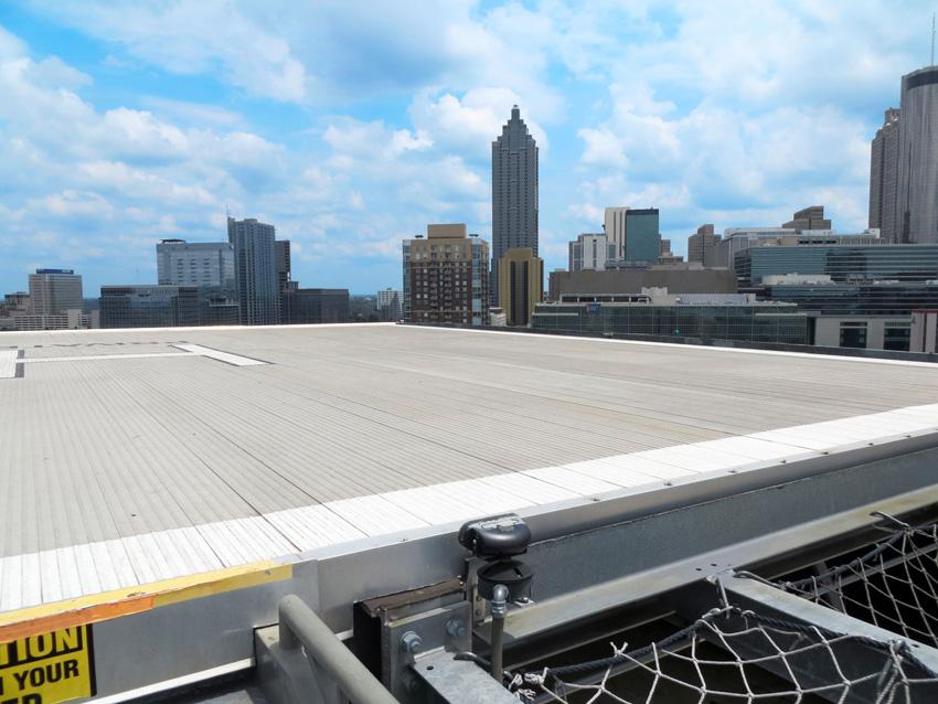 Rooftop with metal flooring.