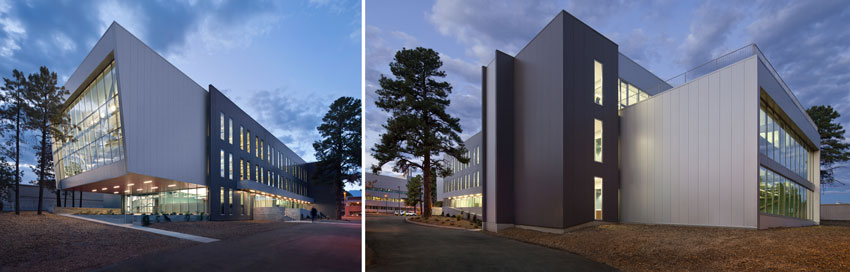Two photos of new University Services Building in Flagstaff, Arizona.