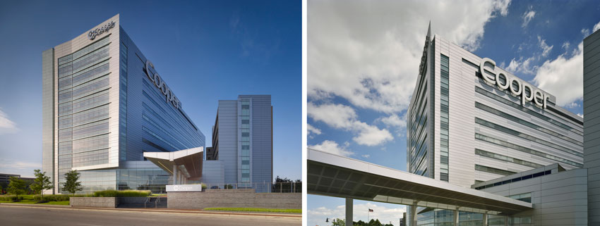 Two photos of Cooper University Hospital.