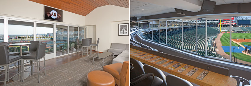 Operable glass walls are used to effectively create enhanced guest experiences at the San Francisco Giants Stadium (left) and the Chicago White Sox Stadium (right).