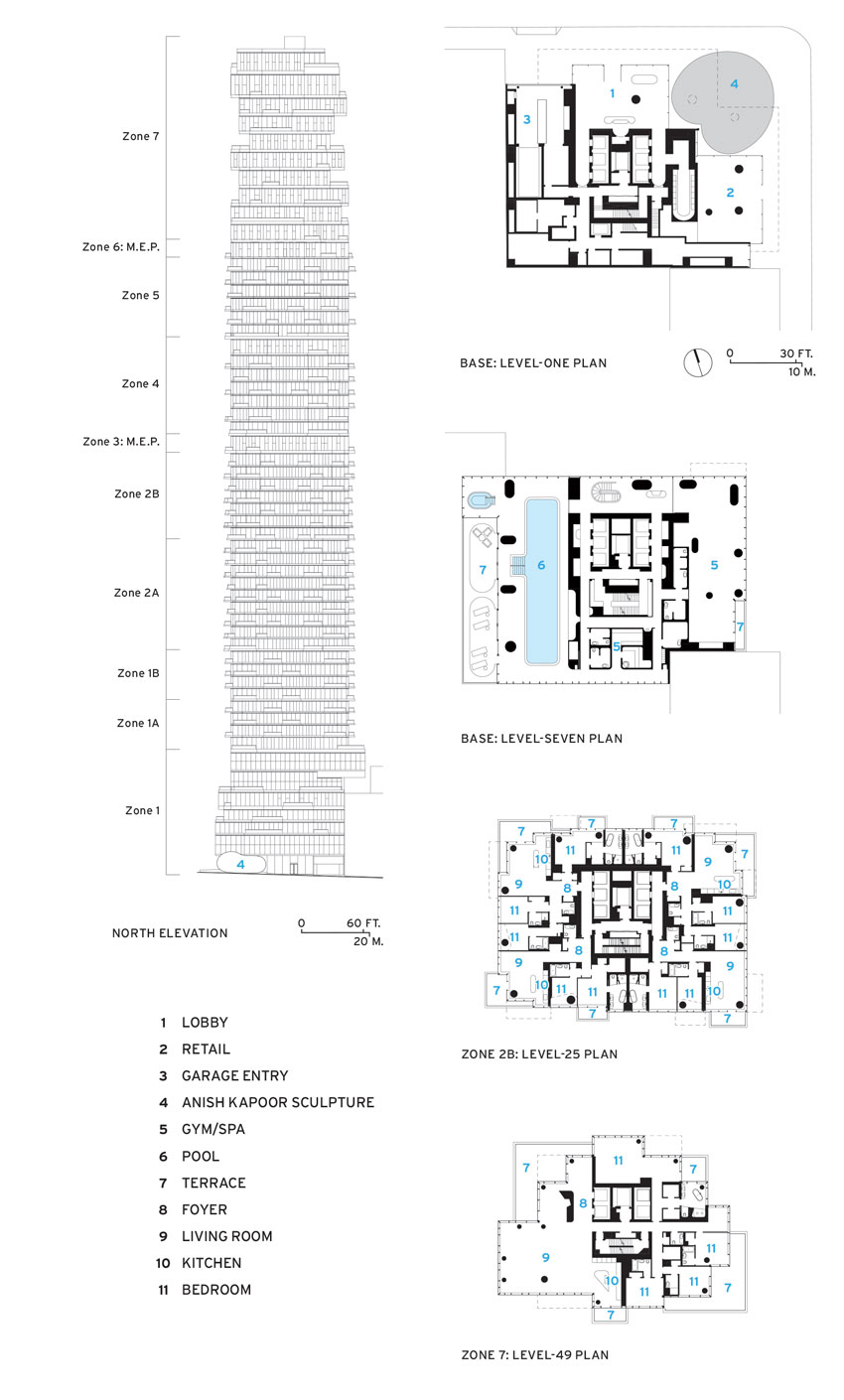 Elevation and floor plans of 56 Leonard.