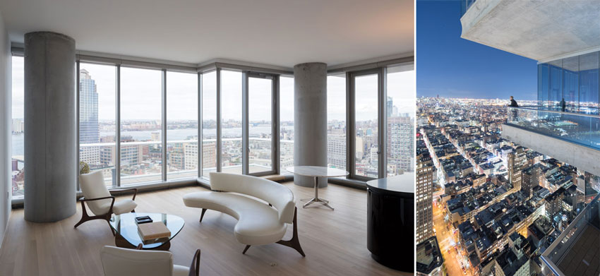 Floor-to-ceiling window walls (left) wrap the entire perimeter of every apartment, providing spectacular views, especially from the upper floors. All the units have projecting balconies (right), but none line up with those on the floors above or below.