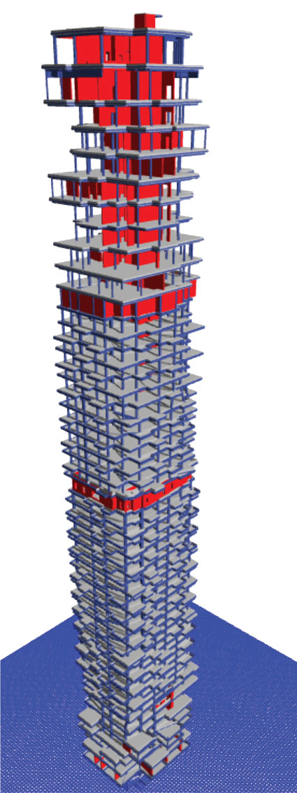 Computer generated structural model of 56 Leonard.