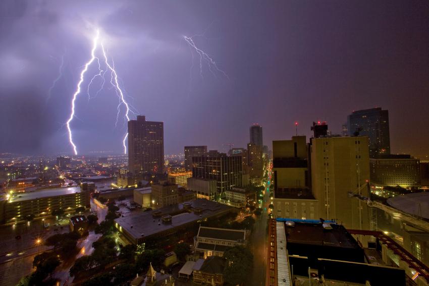 lightning on buildings.