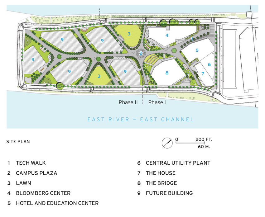 Photo of site plan for Cornell Tech's Roosevelt Island complex.
