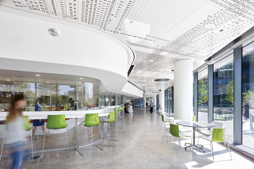 Photo of inside cafe entrance of Bloomberg Center.