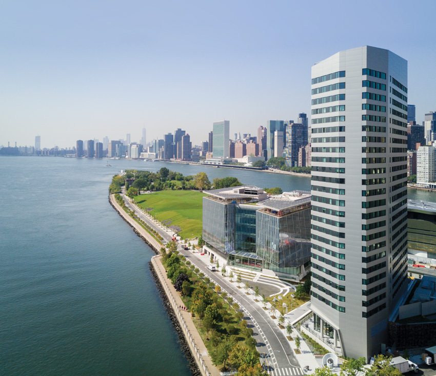 Photo of The House and tallest building of the Cornell Tech's Roosevelt Island complex.
