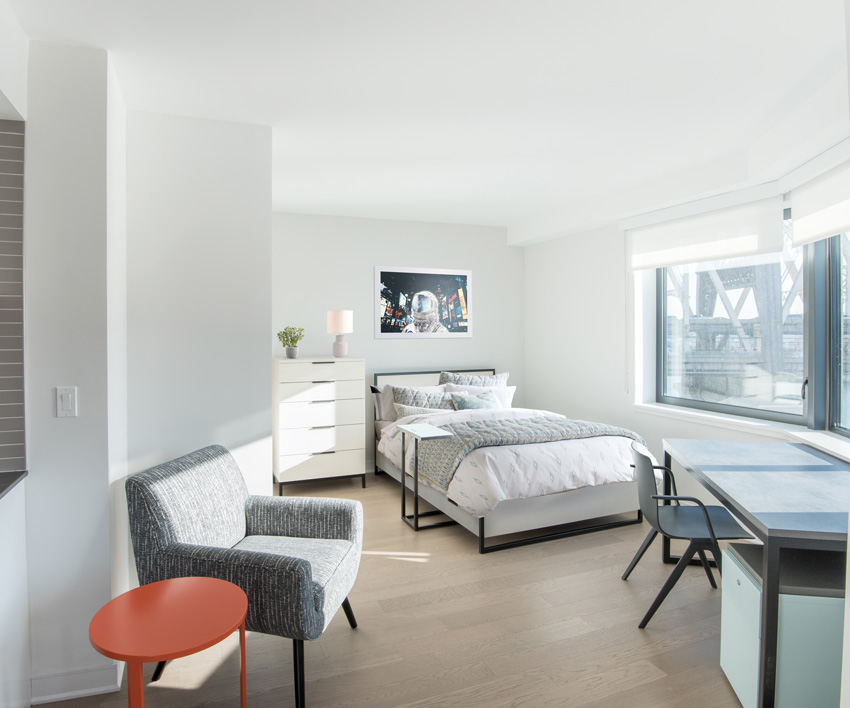 Photo of a studio bedroom.
