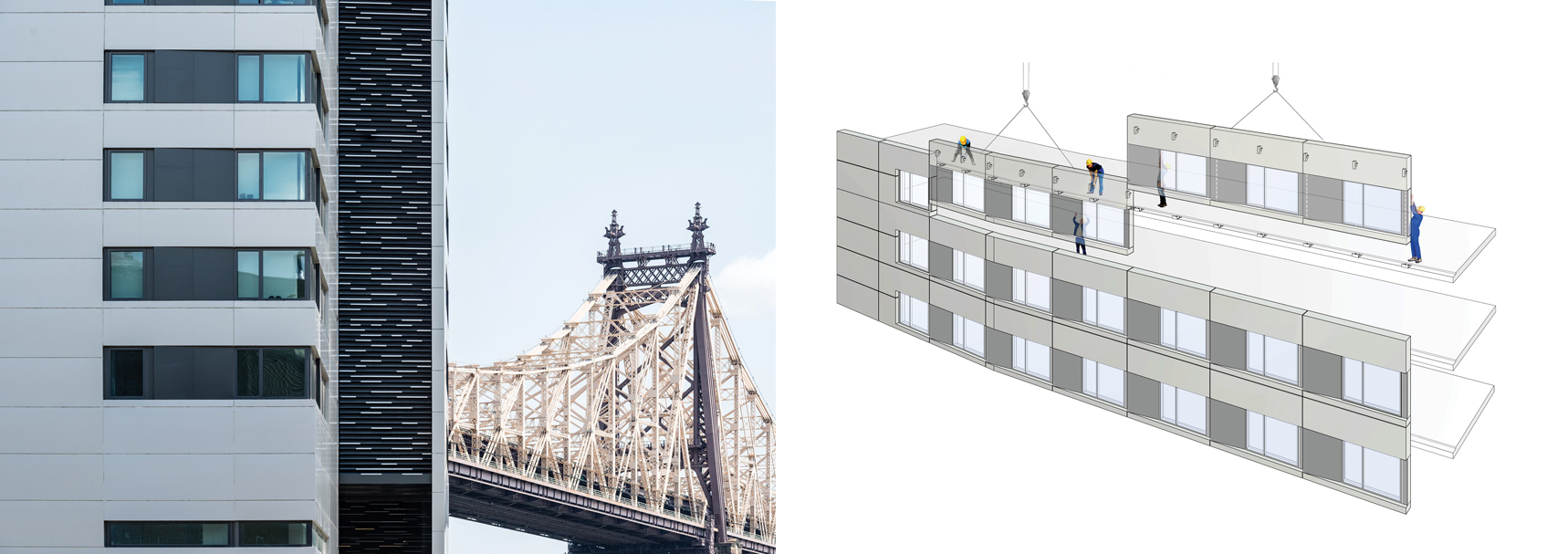 Left: Photo of facade panels of outside building of The House and bridge view. Right: cartoon picture of the already sealed facades.