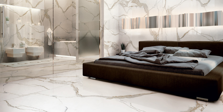 Photo of marble porcelain in bedroom.