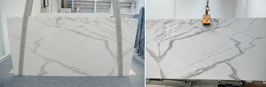 Photo of porcelain tile slabs are handled and shipped