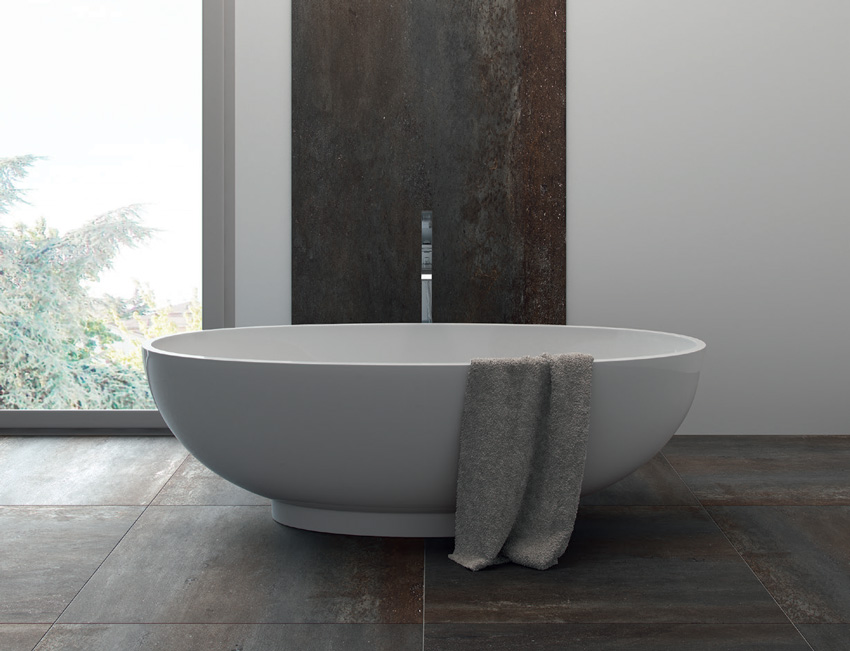 Photo of porcelain tiles in bathtub.