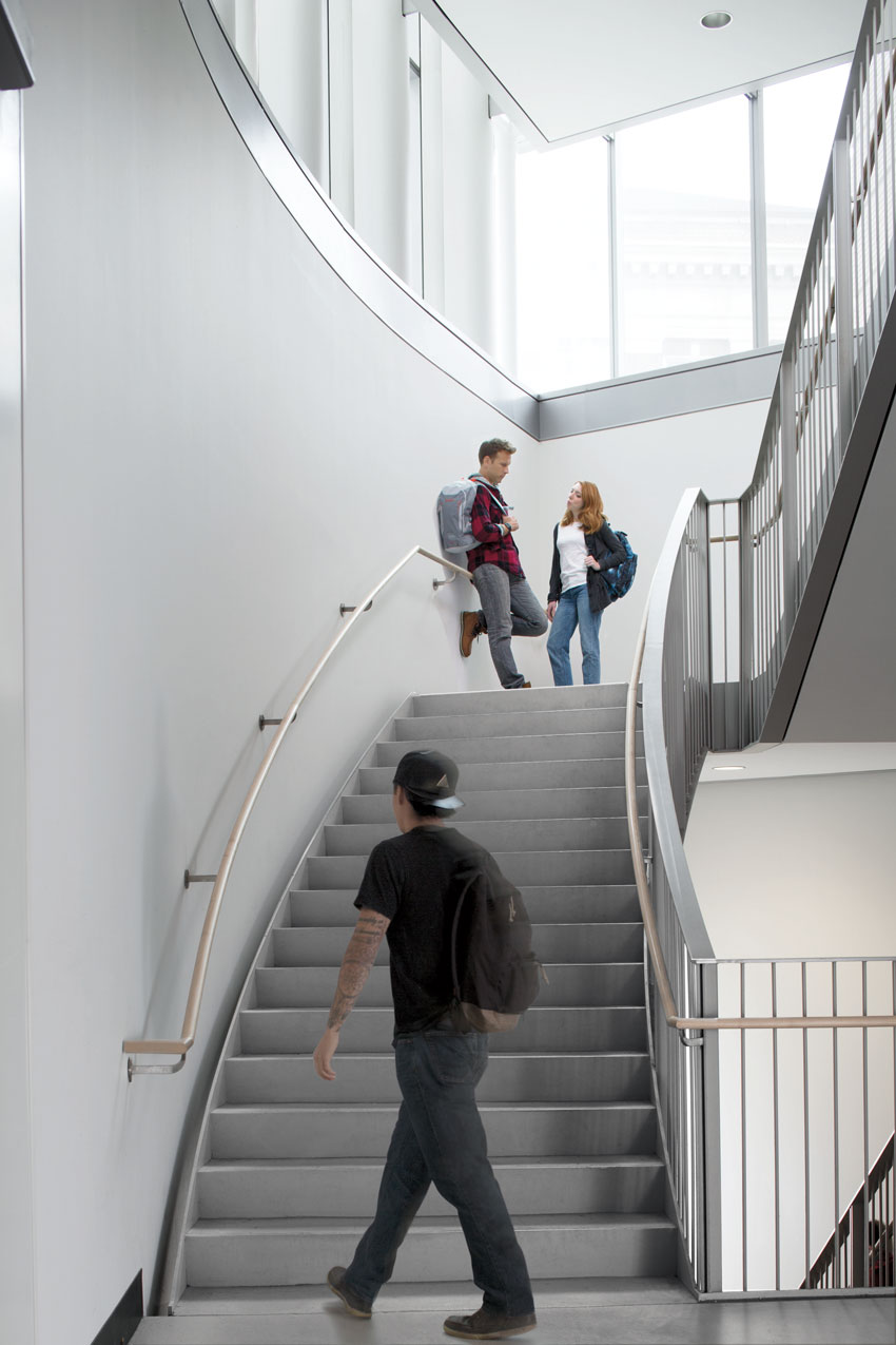 Staircase with people on it