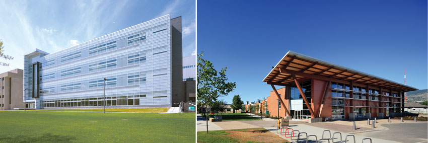 Left:Michigan State University Bioengineering Facility. Right:Pattison Centre of Excellence at Okanagan College